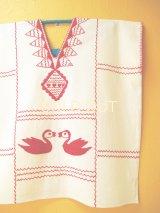 メキシコ刺繍ブラウス*鳥刺繍/レッド/生成り地*