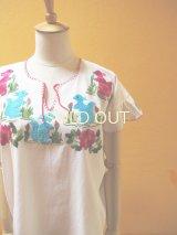 メキシコ刺繍ブラウス*リス刺繍/水色/白地*
