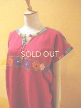 メキシコ手織り民族ウィピルブラウス*Magdalenas aldama/red*