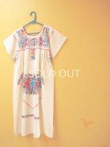 メキシカン刺繍ワンピース*コットン地/クジャク刺繍*