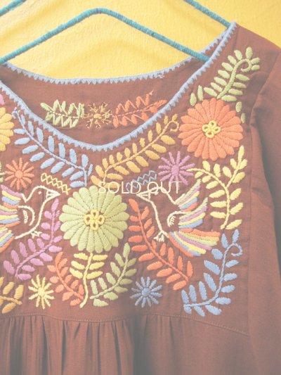画像1: 【SALE】40%off小鳥刺繍のふんわりチュニック*ブラウン*