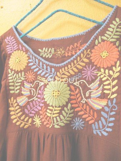 画像4: 【SALE】40%off小鳥刺繍のふんわりチュニック*ブラウン*