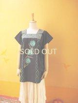 メキシコ刺繍ブラウス*フチタン/ブラック水玉/ターコイズ刺繍*
