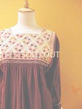 メキシコ手織りウィピルチュニック*ララインサール/maroon×ecru*