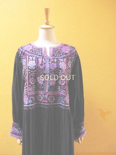 画像5: メキシコ刺繍ワンピース*ティエラ・カリエンテ/ネイビー×紫系刺繍*