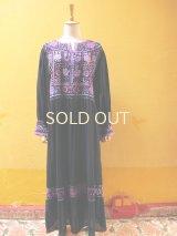 メキシコ刺繍ワンピース*ティエラ・カリエンテ/ネイビー×紫系刺繍*