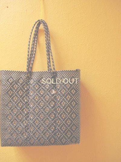 画像4: メキシコカゴバッグ*Silver×Black, Gold×Black/ひし形、小花模様/Lサイズ*