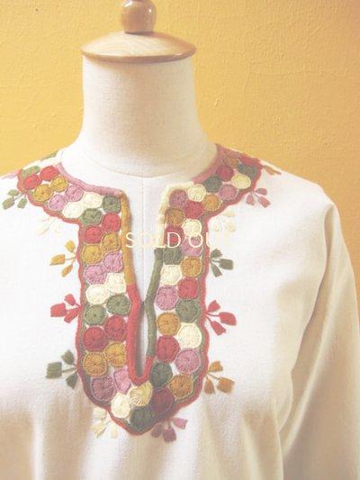 画像3: メキシコ刺繍ブラウス*生成り地/ボリート(玉)刺繍*