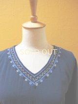 メキシコ刺繍ストレートワンピース*チャムラ玉刺繍/ブルー系*