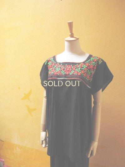 画像5: 【SALE】メキシカン刺繍チュニック*レッド小花刺繍B/ブラック*