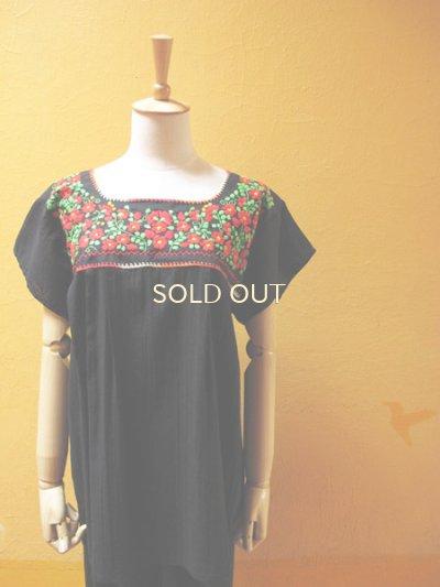 画像4: 【SALE】メキシカン刺繍チュニック*レッド小花刺繍B/ブラック*