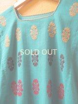 【SALE】メキシコ刺繍ブラウス*チェナロー/幾何学模様/ターコイズブルー*