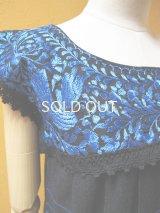 メキシコ鳥刺繍ワンピース*レース仕立て/ブルー*