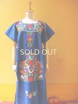 メキシカン刺繍ワンピース*ブルー地*