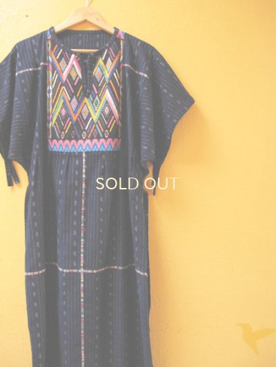画像4: グアテマラ民族衣装リメイクロングワンピース*幾何学模様*