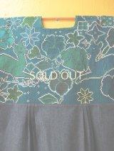 メキシコクロス刺繍ウィピルワンピース*シカ模様/グリーン*