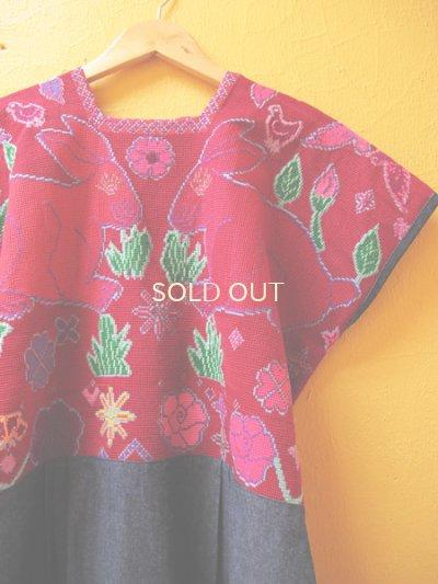 画像1: メキシコクロス刺繍ウィピルワンピース*ウサギ模様/レッド系*