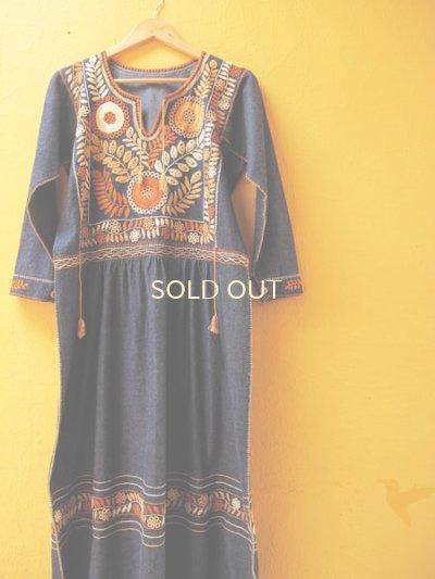 画像1: メキシコ・ゴージャス刺繍ワンピース*デニム地/オレンジ系刺繍*