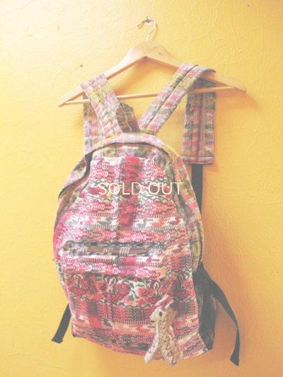 画像3: 【SALE】グアテマラ民族衣装リメイクリュック*鳥模様/キリンのアニマリート付き*