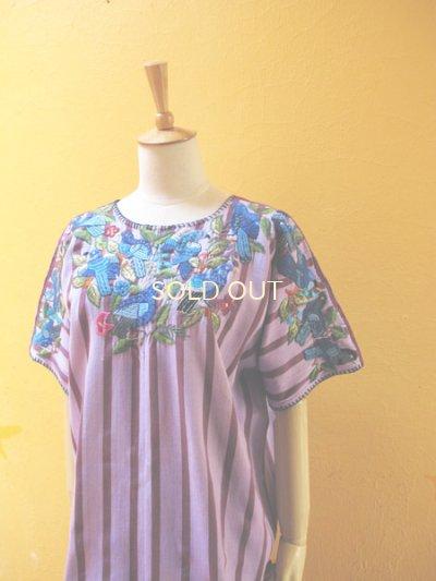 画像2: グアテマラ豪華鳥刺繍ウィピルブラウス*サンティアゴ/青い鳥刺繍*