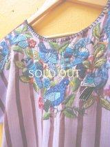 グアテマラ豪華鳥刺繍ウィピルブラウス*サンティアゴ/青い鳥刺繍*