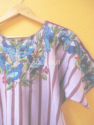 画像4: グアテマラ豪華鳥刺繍ウィピルブラウス*サンティアゴ/青い鳥刺繍*