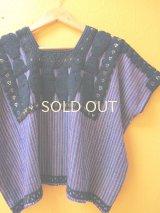 メキシコ刺繍ウィピルブラウス*チェナロー/青紫地/ネイビー刺繍*