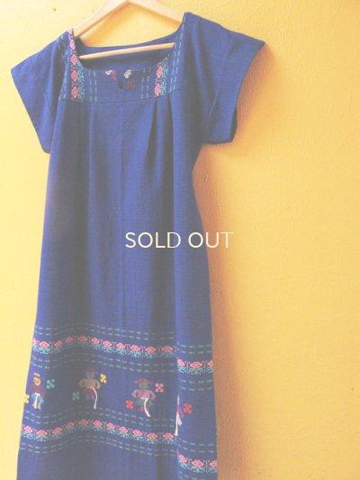 画像3: グアテマラ織り地ワンピース*お人形模様/ブルーC*