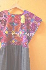 メキシコクロス刺繍ウィピルワンピース*幾何学刺繍*