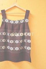 【SALE】30%off幾何学模様のグアテマラ織り地チュニック*ワインレッド*