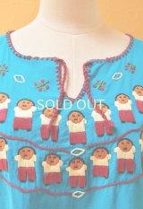 【SALE】30%offメキシコ刺繍ブラウス*お人形刺繍/シアン*
