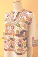 メキシコ刺繍ブラウス*ミルパ刺繍/ピンク/六分袖*