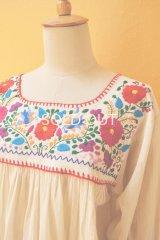 メキシカン刺繍チュニック*小鳥&花刺繍/生成り地*