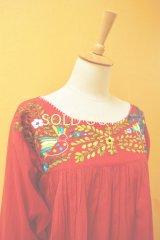 メキシカン刺繍チュニック*鳥刺繍/赤地*