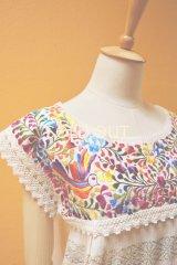 メキシコ刺繍チュニックブラウス*オアハカ/生成り地/鳥刺繍*