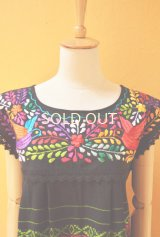 メキシコ刺繍チュニックブラウス*オアハカ/鳥刺繍/黒地B*