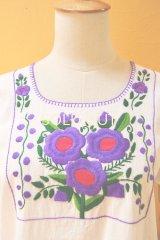 【SALE】40%offメキシコ刺繍ブラウス*白地×スミレ系/花刺繍*