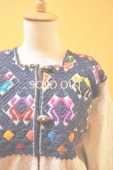 メキシコ手織りウールジャケット*ララインサール/サポ模様/ネイビー*