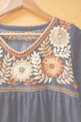 メキシコ刺繍ロングワンピース*アグアカテナンゴ/デニム地/オレンジ系刺繍*