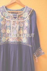 メキシコ刺繍ワンピース*ティエラカリエンテ/花刺繍パープル地*