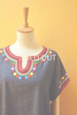 メキシコ刺繍ゆったりブラウス*レインボーカラー/デニム地*
