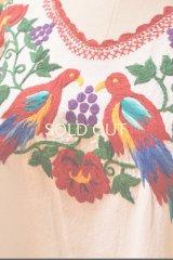 メキシコ刺繍ブラウス*対になった鳥刺繍(guacayama)*