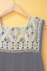 メキシコ手織り地ワンピース*ララインサール/お花模様/ネイビー地*