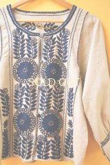 メキシコ刺繍ジャケットブラウス*コットン地×ネイビー刺繍*